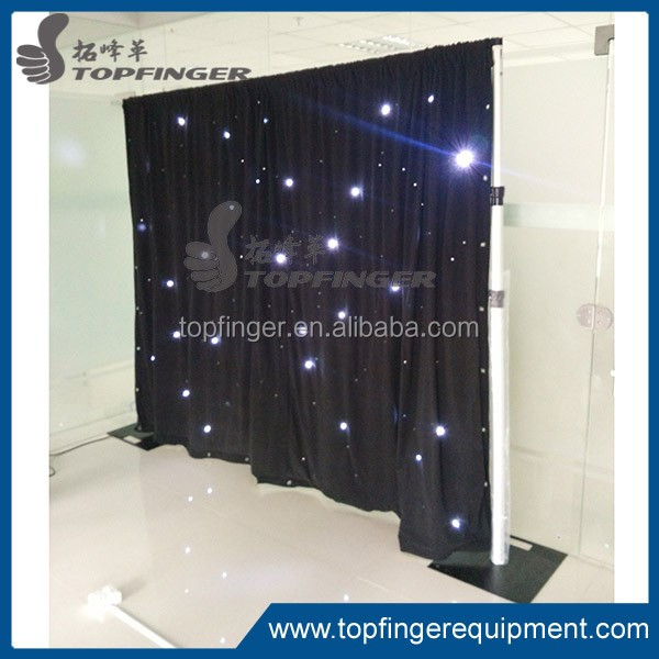 Topfinger factory cheap price White fireproof Velvet cloth White led curtain