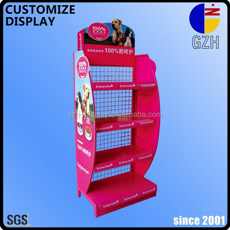 promotion wire back mesh floor standing display racks with shelves and AD board for cat or dog food