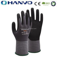 HANVO Cheap Price Micro Foam Nitrile Safety Gloves With EN388