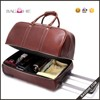 HIgh quality genuine leather luggage trolley traveling bag