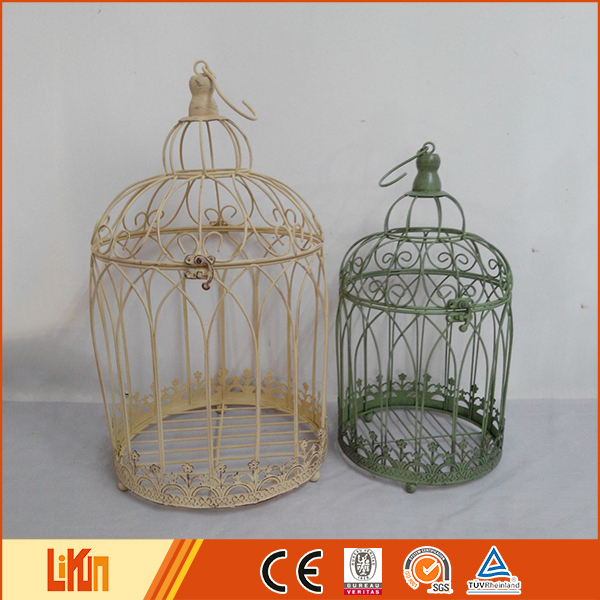 Custom cheap green color iron birdcage wholesale art and craft supplies