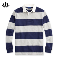 Mens classic fit grey/navy striped rugby shirt 100% cotton jersey long sleeve polo shirt