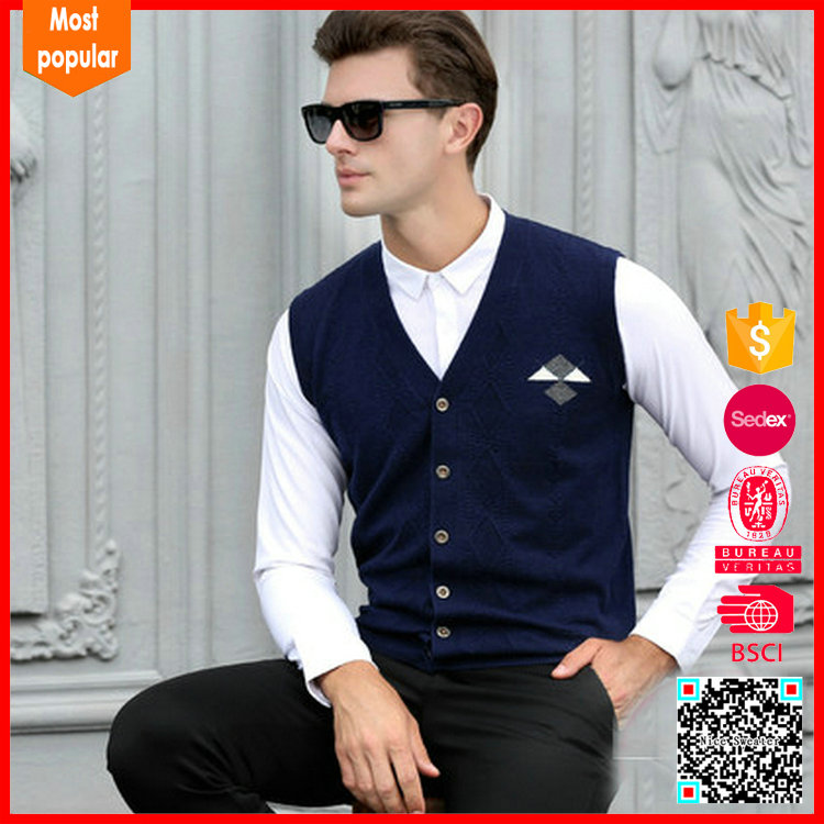 Classic solid men's cotton sweater cable vest patterns knitted