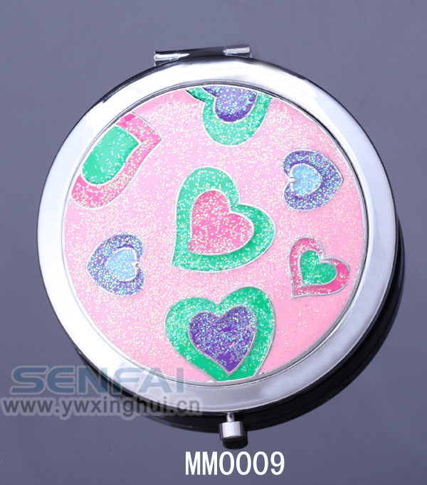 enamel make up mirror heart shaped handheld mirror