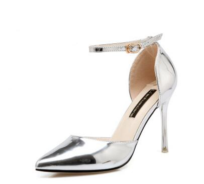 Autumn selling silver, word buckle, female pointed ladies high heels shoes women