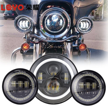 "Halo 4.5"" LED Foglight & 7"" LED Headlight for Harley Davidson Motorcycle"