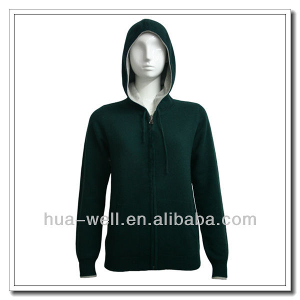 2014 Hot selling women cashmere zipper hoodie