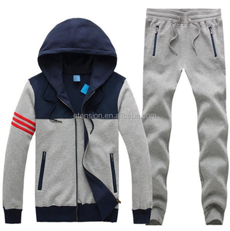 High Quality Zipper Up Wholesale Men Sweat Suits With Hoodie