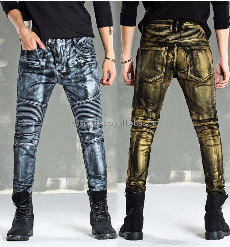 wholesales price men clothing fashion custom printing skinny heavy acid washed men denim jeans