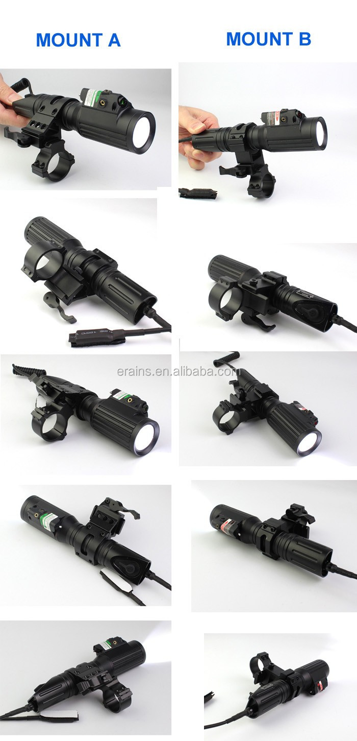 Tactical professional hunting green laser sight with 1000 lumens CREE T6 LED flashlight with strobe light
