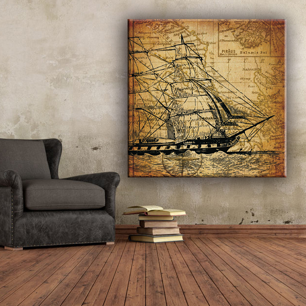 Beautiful yacht decorate coffee canvas art painting pictures for living room