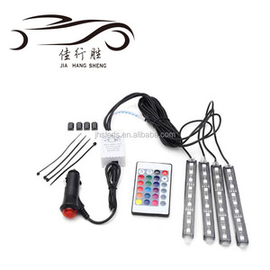 New 5050 9SMD Car LED Colorful Strip RGB Atmosphere Light Auto Decorative Lamp With Remote Control