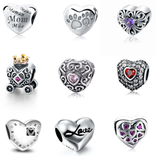 Custom Love Heart 925 Sterling Silver Beads For Jewelry Making