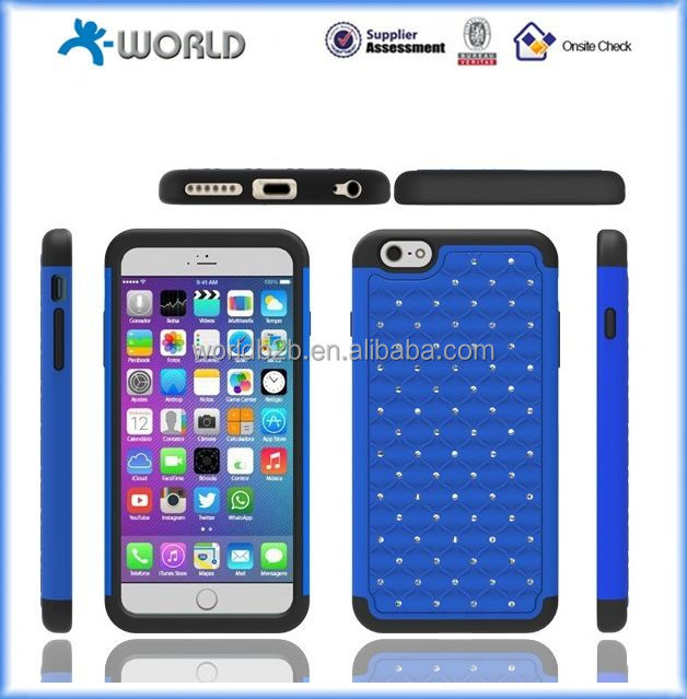 blue black diamond bling hybrid cover had gel case for iphone 6, iphone 6 plus, iphone 6S 4.7inch