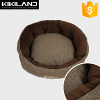Customized chocolate Round Striped Dog Bed