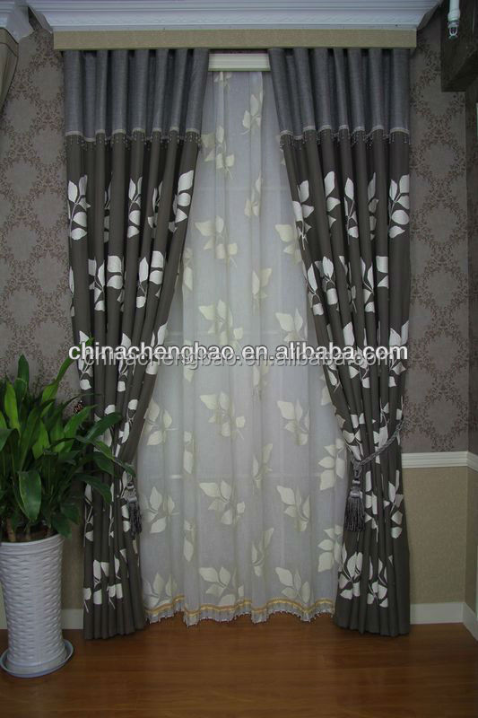 Wholesale leaf pattern flame retardant motorized curtains fabrics for manufactured home