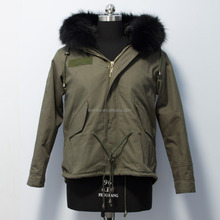 Fashionable Short Style Women Raccoon Fur Hooded Parka Jacket