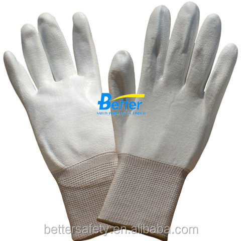 13 Guage White Polyester Lining PU Palm Coated ESD Protective Gloves