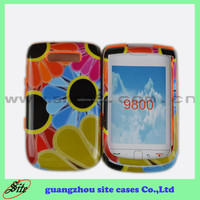 Customized design 2 in1 printing PC+silicon combo case mobile phone accessories for Blackberry 9800