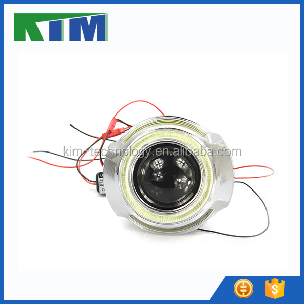 Top quality 35w headlight hid projector lens light cob angel eyes for car