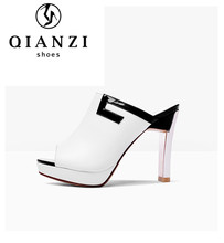 7218 New Fashionable white lady high heel slipper women shoes peep toe sandals