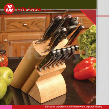 13 pcs Morden Style kitchen cooking steel knife set including shears and professional knife sharpener with wooden knife block