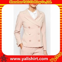 OEM top quality slim fit plain polyester/viscose double-breasted formal ladies blazer designs