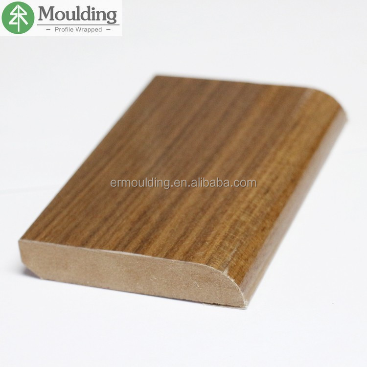 walnut wood veneer covered MDF baseboard