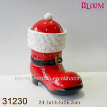 Unique shoe shaped 2013 ceramic christmas gift cookie jar
