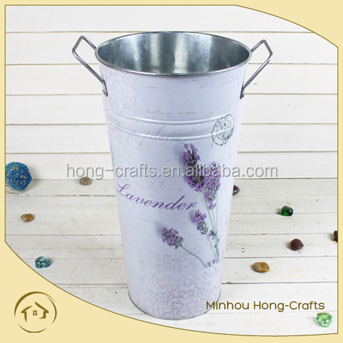 lavender design round metal flower pot with handle for garden