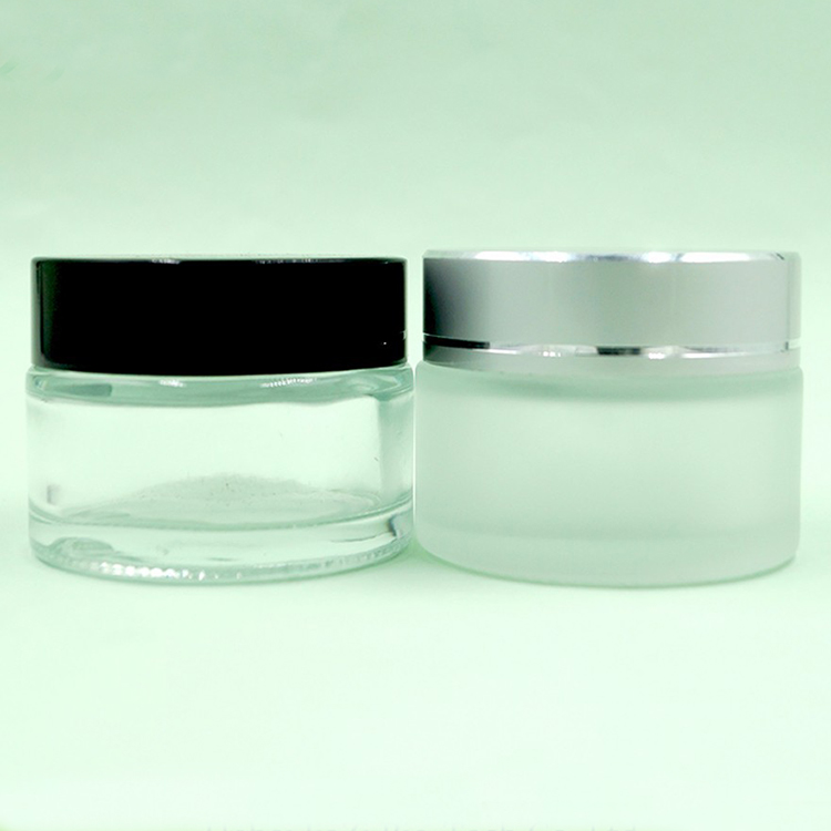 Cosmetic clear frosted cream glass jar 50ml