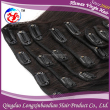 Good quality straight natural color double drawn wholesale clip on hair extension natural black