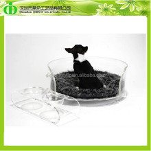 DDT-D005 Chinese Factory Sells Round Perspex Dog Bed With Pet Bowl