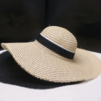 2016 small sweet lady style summer black letters big straw hat