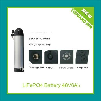 Long cycle life Bottle casing rechargeable electric bike LiFePo4 battery pack TB-4806F