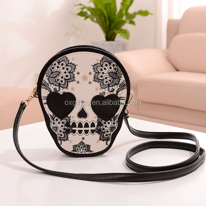OXGIFT China Wholesale Price Amazon lady Fashion cute Skeleton Skull head pirate robber Messenger Shoulder Chain Bag handbag