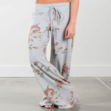 L2518A wholesale cheap women ladies summer casual loose printing wide leg palazzo pants