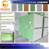 weijiya 1200*2400*8.5mm green board/waterproof gypsum board for interior decoration