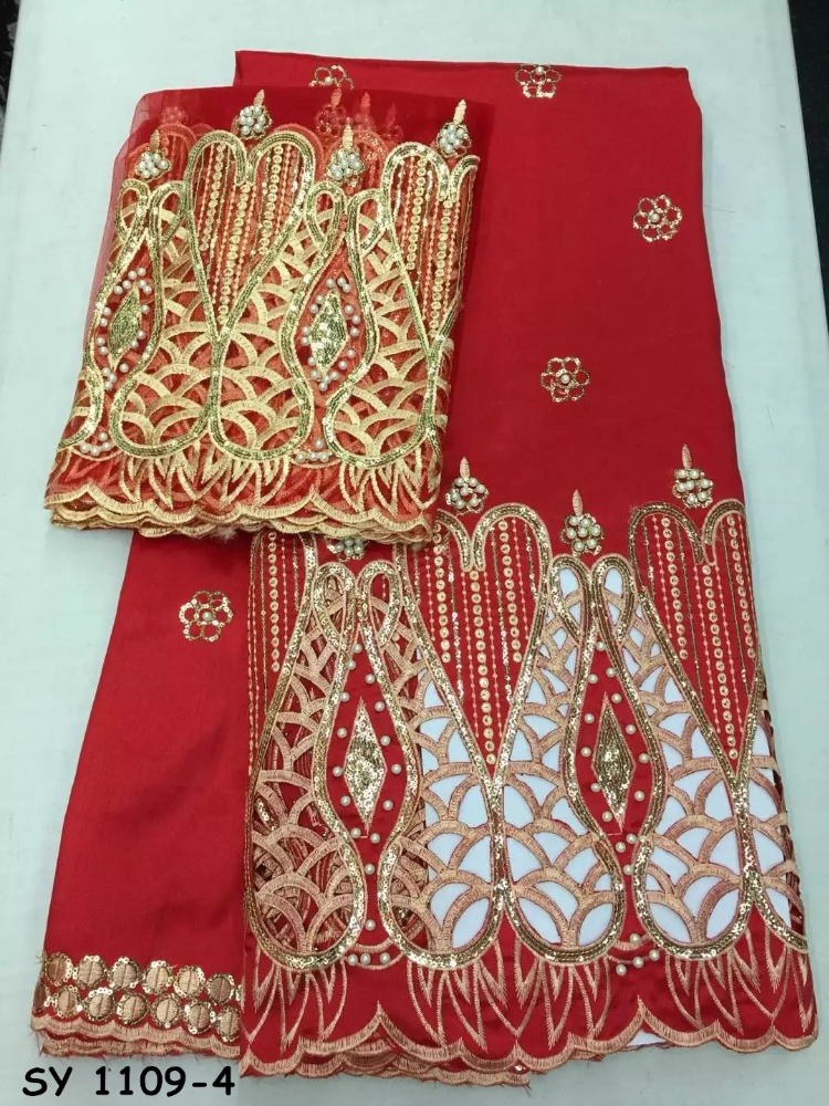 Red embroidery net Lace with george wrappers hot sale india george wrappers with blouse African Indian george wrappers