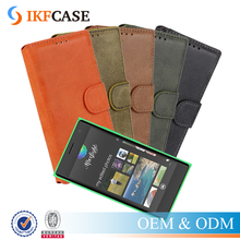 Magnetic Flip Matte Frosted Stand Leather Case with 2 Credit Card Slots For Nokia Lumia 730