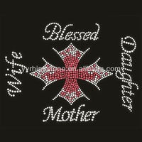 Rhinestone Blessed Cross Hot Fix Iron On Transfer T-Shirt