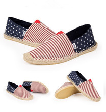 Hot selling custom hand made espadrilles canvas shoes with straw sole