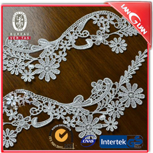 Flower shape embroidered beige cotton lace collar,sale for pair