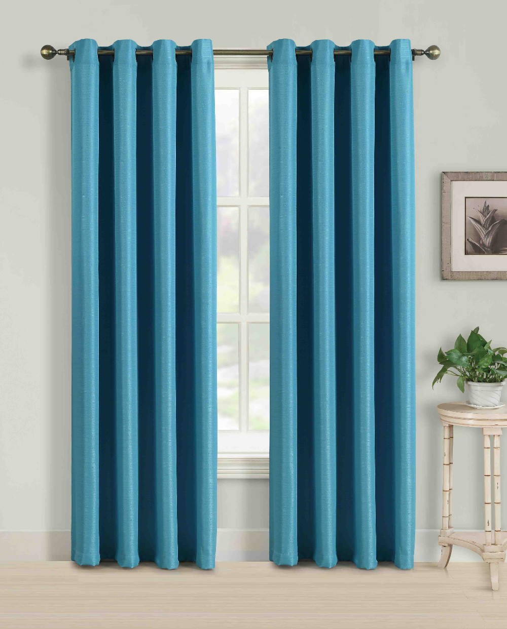 Solid color faux silk curtains with matching color curtain for Where to buy curtain panels