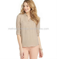 Lady patch pocket henley blouse lastest design 2013