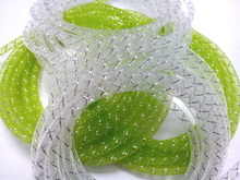 Apple Green Deco Mesh Flex Tubing Ribbon 8mm for Decoration Flowers