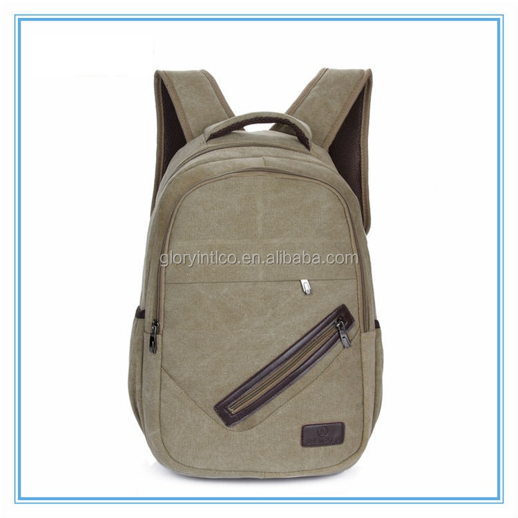 Custom army green durable fashion canvas computer backpack bag