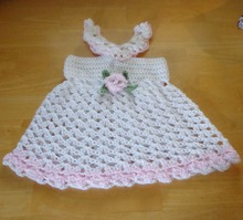 Promotion cheap autumn promotional breathable wool knit white handmade baby crochet dress