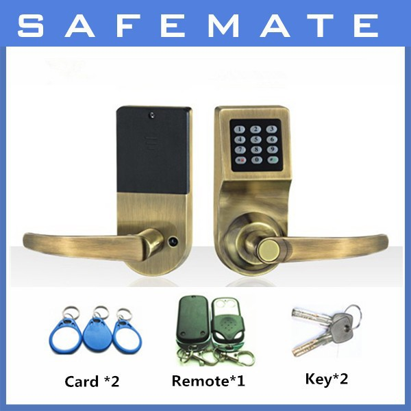 china best quality RFID card password remote control mechanical key door lock