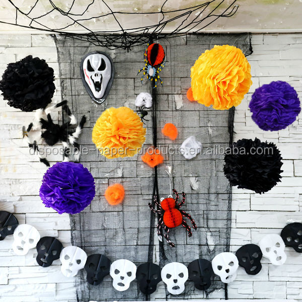 yiwu factory wholesale halloween party supplies paper decorations halloween garlands table decorations tissue paper pompoms buy halloween pompomstissue - Halloween Pom Poms